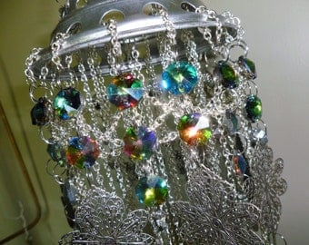 Wind Ornament/Chandelier - Silver and Vitrail crystals - artist made and signed