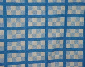 """Quilt Top Blue and White 73"""" wide x 92"""" long"""