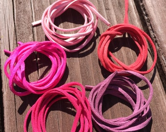 SALE DIY Suede Leather Strings! 5 Pack of Pinks and Reds Colors (002ST)