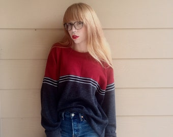 90's grunge striped pullover sweater