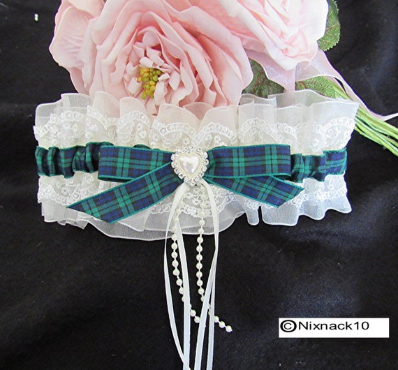 WEDDING GARTER IVORY Blackwatch Tartan Pearls By