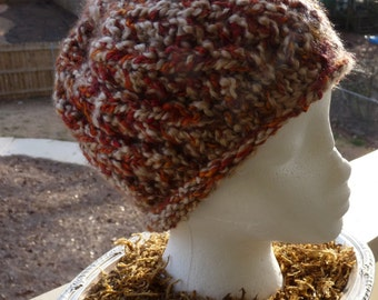 Girls Orange and Cream Knit Hat, Hand Knit Hat, Orange Hat, Fall Colors Hat, Free Shipping