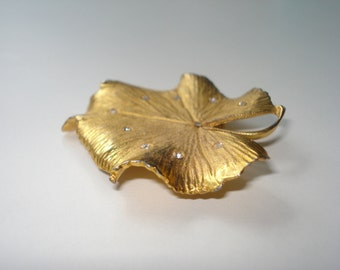 Vintage Coro Leaf Brooch - Signed -  Large Gold Tone Rhinestone Pin Jewelry 1960s