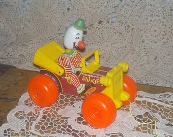 Vintage Fisher Price Jalopy Clown Pull Toy,Vintage Toys,Vintage Fisher Price Toys,Yoys, Clown,  :)sNot Included in Coupon Sale
