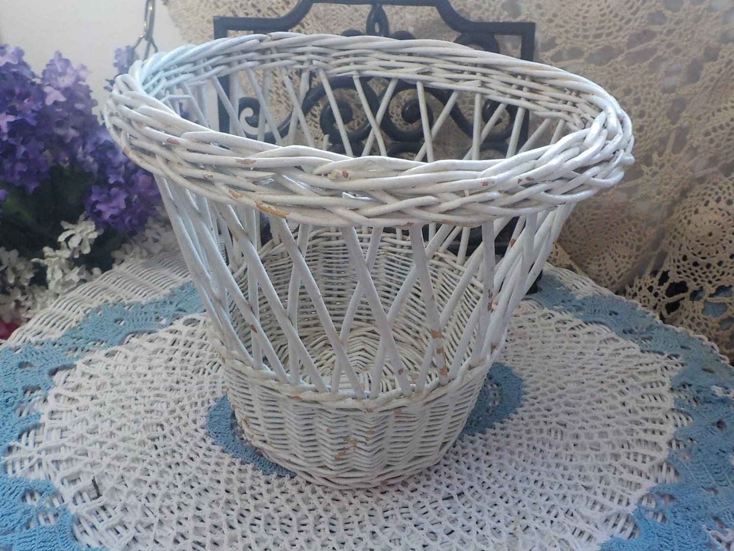 Shabby Cottage Wicker Trash Can Waste Basket Planter