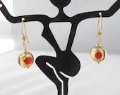Venetian Red & Gold Earrings