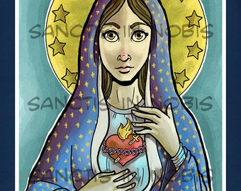 Immaculate Heart of Mary Catholic Art Print, Icon, Mary Mother of God, Relgious Illustration