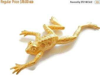 ON SALE Vintage JJ Frog Brooch, Leaping Lizards, Gold tone Matte, Figural Pin, Signed Jonette
