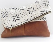 mudcloth and leather clutch