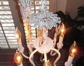 chandelier floor lamp,  antique vintage Handmade, shabby chic, french country lighting, vintage crystals