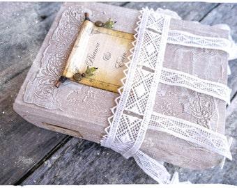 Boho Wedding Guest Book, Green, Beige, White Photo album, Shabby Chic Wedding, Custom Wedding Photo Booth album