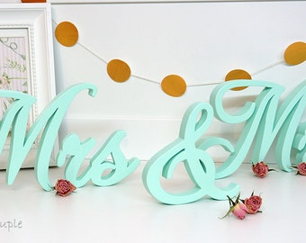 Mint Wedding Sign Mr & Mrs, Wooden letters table decor, Wedding gift