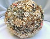 RESERVED for Char BALANCE PAYMENT for Custom Brooch Bridal Bouquet Champagne Ivory Gold and Blue