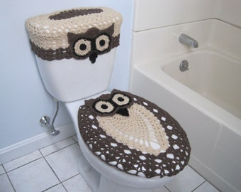 Crochet Set of Owl Toilet Tank Lid and Toilet Seat Covers - oatmeal/taupe heather/black (OTTLTSC1A)