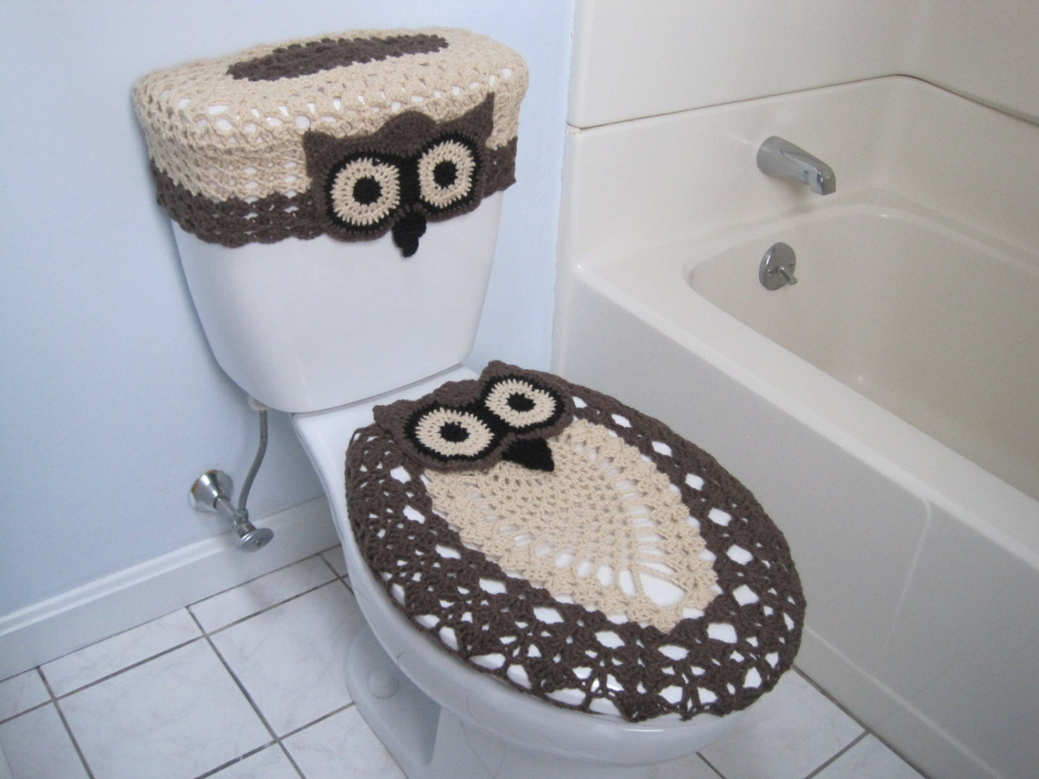 Crochet Set Of Owl Toilet Tank Lid And Toilet Seat Covers
