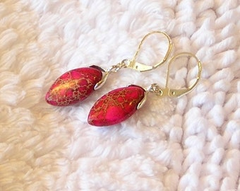"Petite Red with Dark Pink Sea Sediment Jasper  semi precious gemstone  1.5"" small stone silver dangle drop lever back earrings"