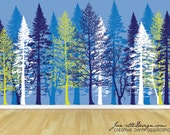 Forest Wall Mural,Removable Wall Mural,Tree Wall Decal,Forest Wall Art