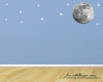 Moon and Stars Wall Decal,Sky Wall Decals,Star Wall Decals,Night Sky,Moon Wall Sticker