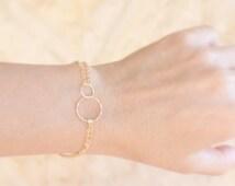 Gold Bracelet - Circles bracelet -  bridesmaid jewelry. eternity karma bracelets, Best Friends Bracelet,Gold Bracelet,Eternity love circle