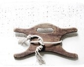 r e s e r v e d -- string winder - wood string reel - rustic primitive - urban farmhouse