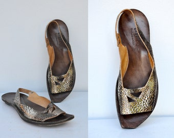 Cydwoq Leather Shoes - Leather Sandals - Gold Leather Shoes  - Bronze Leather - Designer Shoes - Sling Back Sandals Shoes - Flats 38.5 - 8