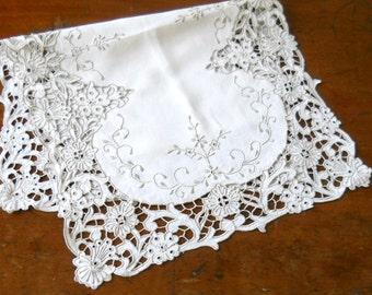 vintage linen table runner hand embroidered vintage French tablecloth french table runner embroidered table runner  french linen