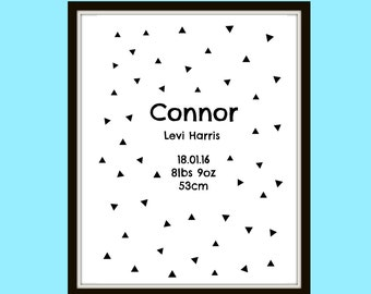 Digital Customized custom print  Childs birth chart announcement made to order personalised A4