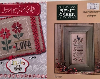 2 Cross Stitch Charts by Lizzie Kate & Bent Creek, Love, The Plum Berry Sampler