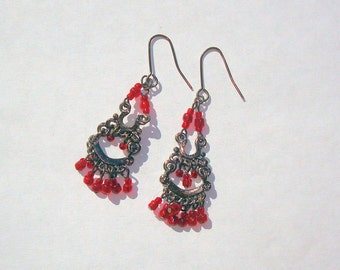Vintage Red Glass Beaded Gypsy Belly Dancer Middle Eastern Type Dangle Pierced Earrings