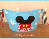 Minnie or Mickey Mouse - Disney Handy 12 inch Oval Tub - Easter Bucket - Personalized
