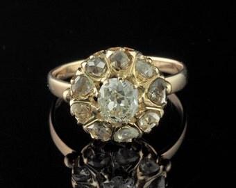 Victorian outstanding old mine cut diamond rare daisy ring