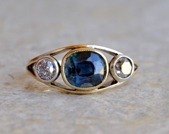 On Hold! Fascinating Victorian 2.50 Ct no heat Ceylon sapphire and old diamond trilogy ring On Hold