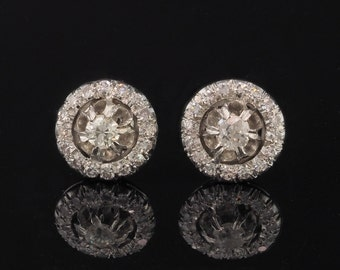 Art Deco 1.10 Ct diamond rare target stud earrings