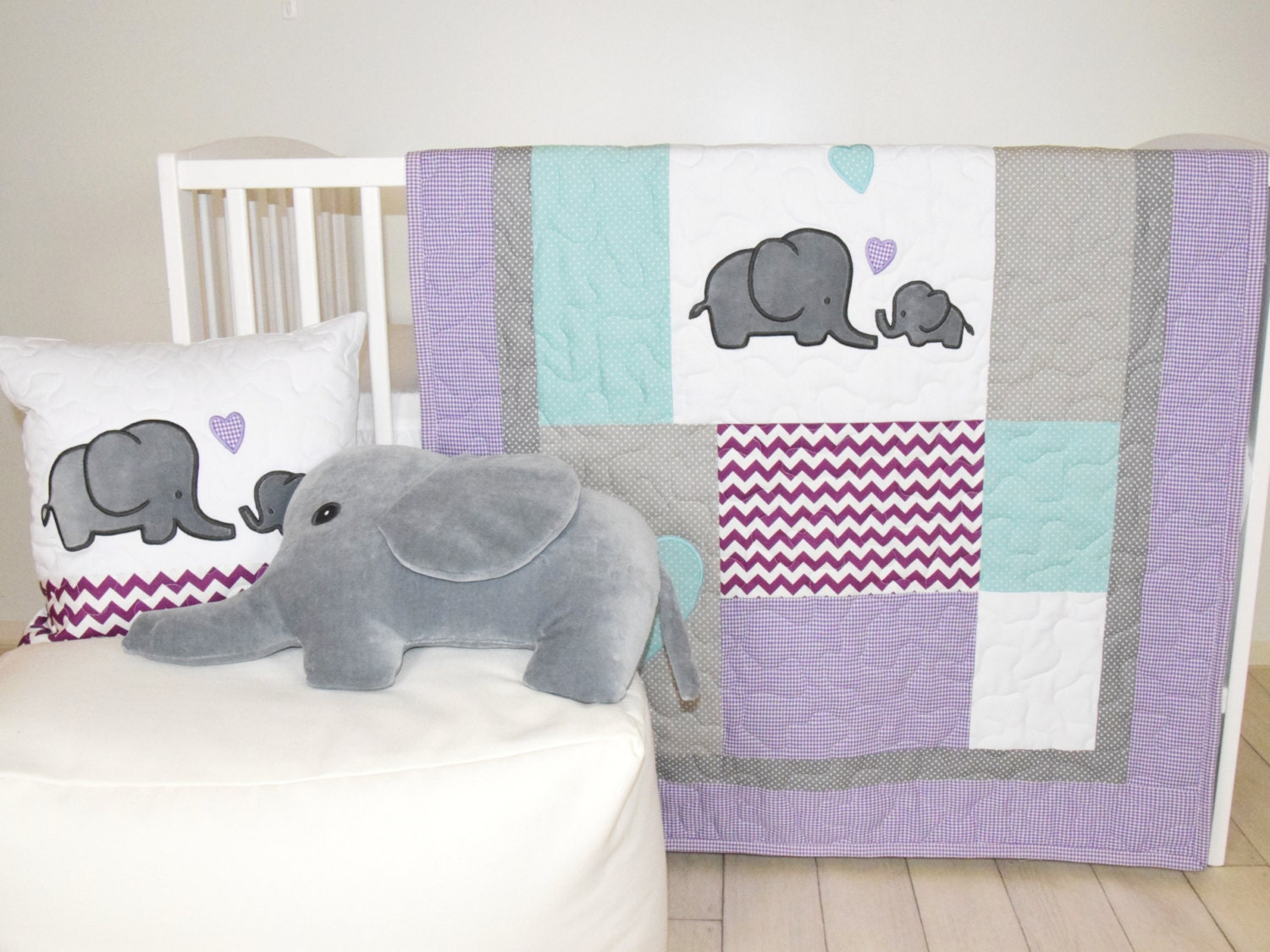 Elephant Baby Quilt Gray Purple Teal Crib Bedding Chevron Blanket Safari Nursery