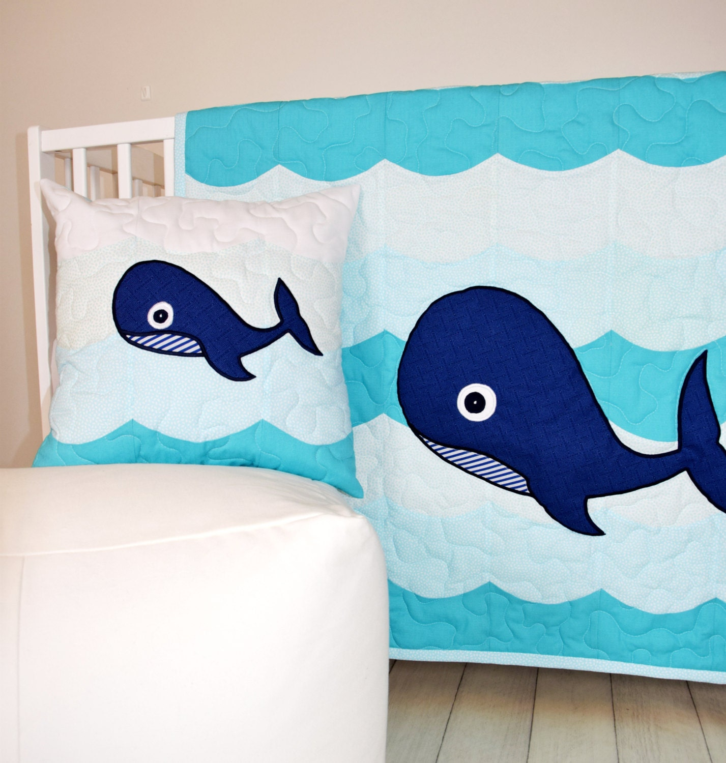 Nautical Infant Bedding: Nautical Nursery Bedding Whale Crib Quilt Childrens Room