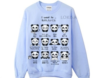 Japanese Panda Emoticon Crewneck Sweatshirt