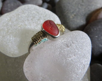 Size 5 Cherry Red Sea Glass Ring with 18k Gold Accents