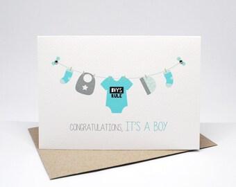 Baby Boy Card - Baby Boy Items on Line - Boys Rule Romper - BBYBOY043 / Congratulations It's a Boy Card