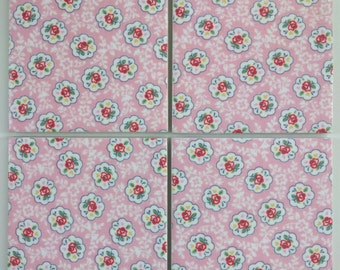 Ceramic Coasters in Cath Kidston Pink Kempton Rose