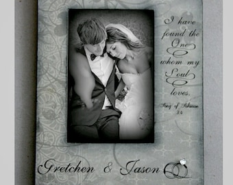 """Wedding Picture Engaged Couples' Grey Design 4x6 5x7  Diamond Custom  - """"I have found the one whom my soul loves."""" Personalized Gift"""