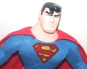 "12"" Superman Plush with Plastic Face, 1990's Warner Brothers, Antique Alchemy"