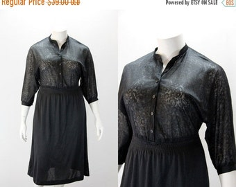 SALE 40% off XL Vintage Dress - Sheer Lace Bodice Black Dress