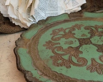 Green Florentine Resin Tray