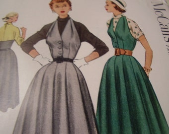 Vintage 1950's McCall's 9104 Jumper Dress and Blouse Sewing Pattern, Size 20, Bust 38