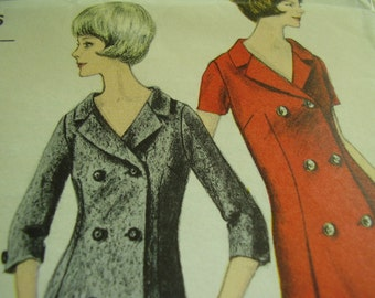 Vintage 1960's Vogue 6072 Young Fashionables Coat Dress Sewing Pattern, Size 14, Bust 36