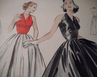 Vintage 1950's Butterick 6148 Evening Gown Sewing Pattern, Size 12 Bust 30