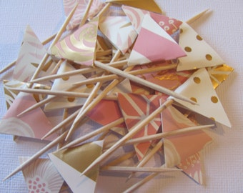 Blush, Gold, Cream, Pink Flag Food Picks, Flag Cupcake toppers, Set of 24,
