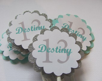 Cupcake Toppers, Set of 12, Personalized cupcake toppers, Turquoise, Glitter Silver, White