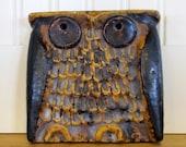 1960's Scandinavian Owl Tile, Owl, Tile, Scandinavian, Danish, Modern, Rustic, Swedish, Danish Modern, Art Pottery, Ceramic, Pottery