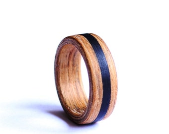 Wood Mens Ring, Bentwood Wedding Ring, Wood Ring, Mens Band With Ebony Inlay